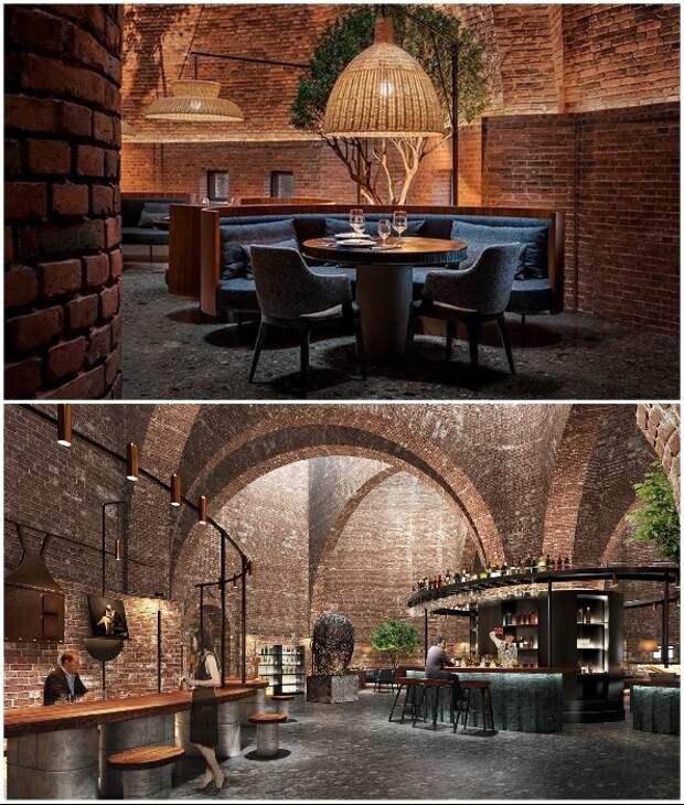 Современная мебель гармонично вписалась в нестандартный интерьер ресторана (50% Cloud, Китай).