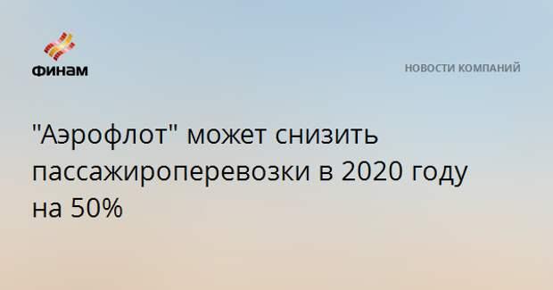 """""""Аэрофлот"""" может снизить пассажироперевозки в 2020 году на 50%"""