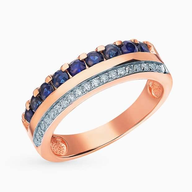 Кольцо SL, розовое золото, сапфиры, бриллианты