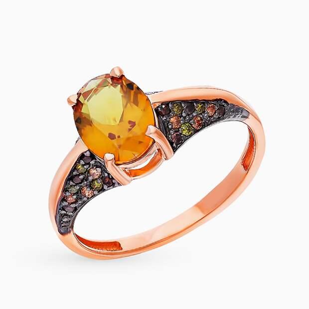 Кольцо Maskom, розовое золото, султанит, фианиты