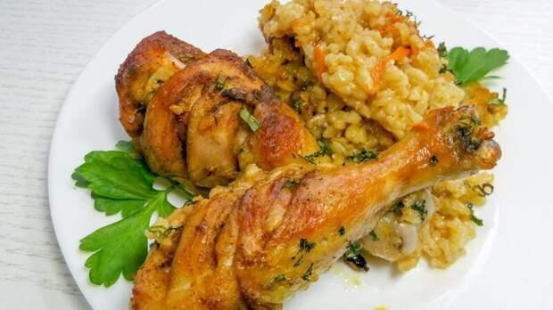 Как приготовить на обед куриные ножки с ароматным рисом видео, еда, кулинария, обед, рецепт