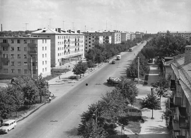 """Рязань, ул.Дзержинского 1960-е годы. Район магазина """"Урожай""""."""