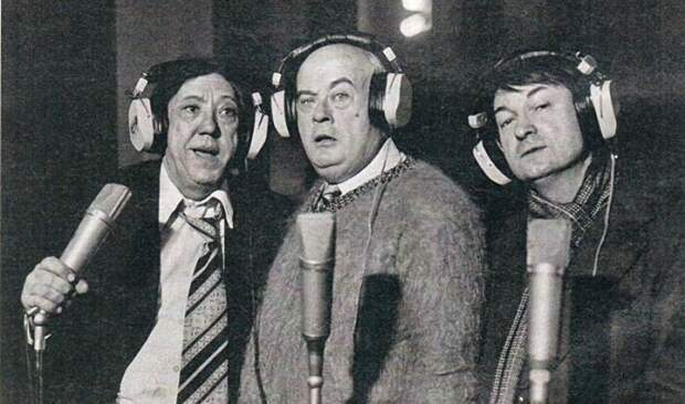 Знаменитая троица на записи звука к фильму «Кавказская пленница»