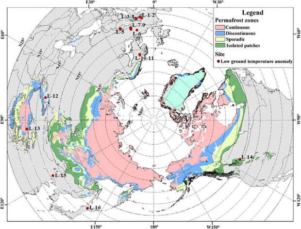 Карта вечной мерзлоты в северном полушарии