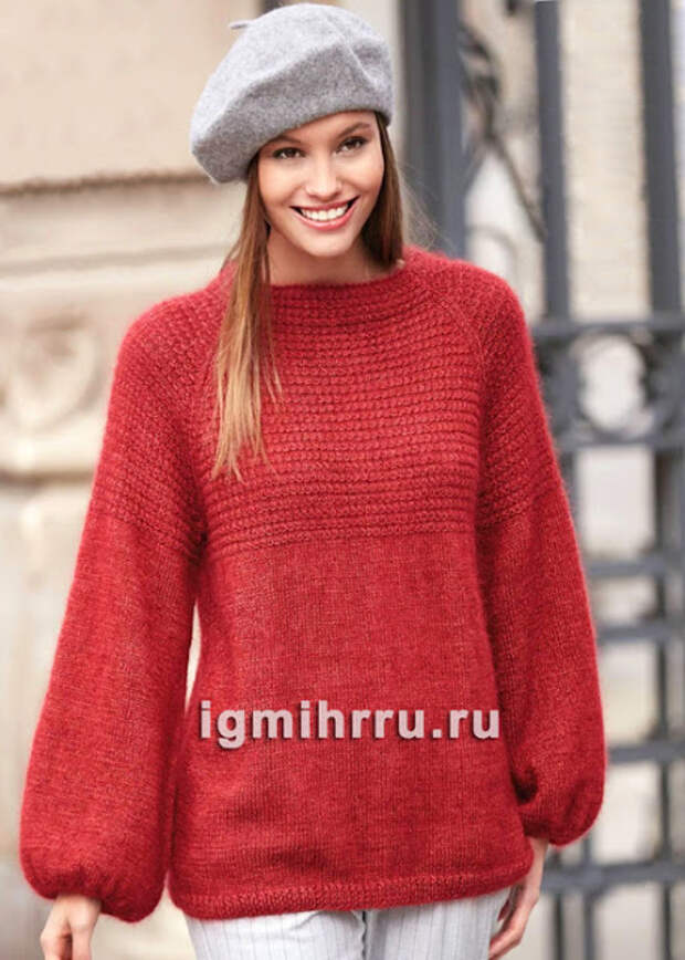 Пуловер и кепи спицами