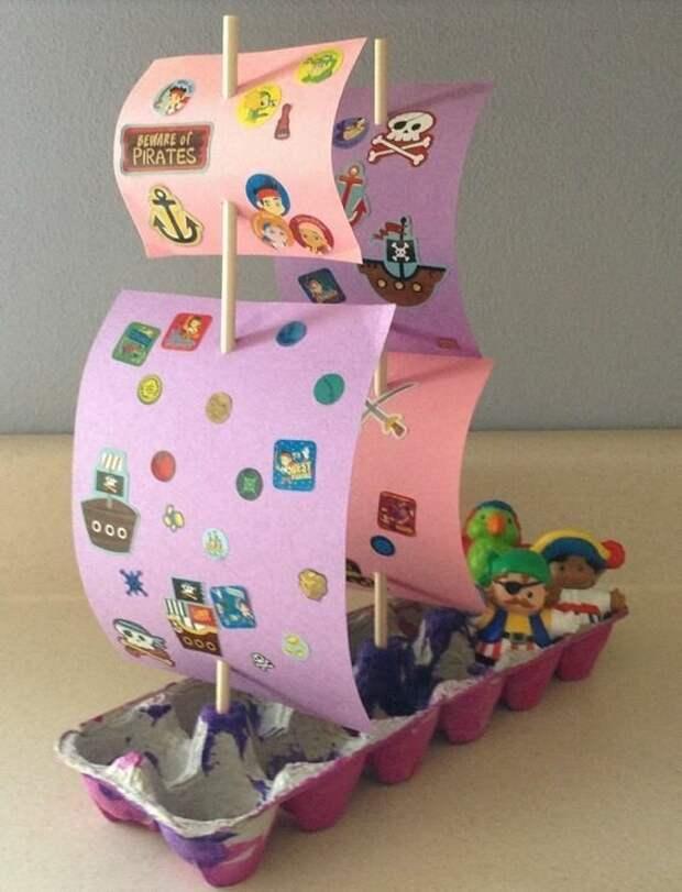 Кораблики мастерить с детьми вторая жизнь вещей, контейнер из-под яиц, коробка из-под яиц, своими руками, сделай сам