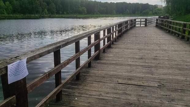 В парке «У Джамгаровского пруда» демонтируют ветхие деревянные настилы