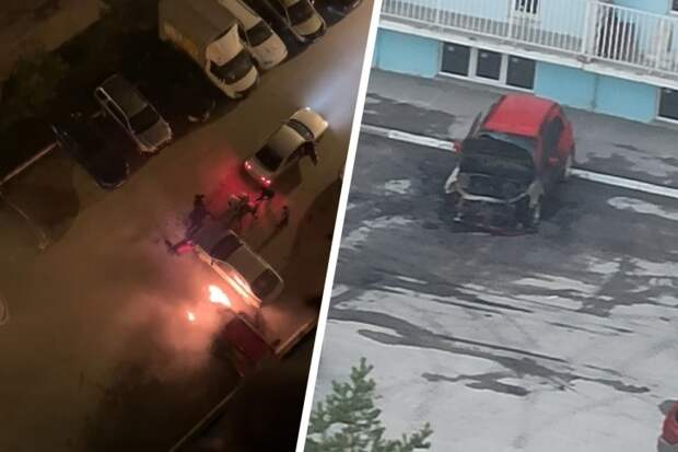 «Огонь поднимался до третьего этажа»: момент поджога автомобиля в Новосибирске попал на видео
