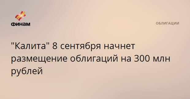"""""""Калита"""" 8 сентября начнет размещение облигаций на 300 млн рублей"""