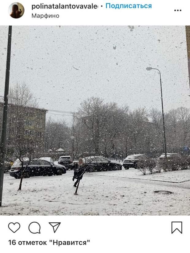 Фото дня: апрельский снегопад в Марфине