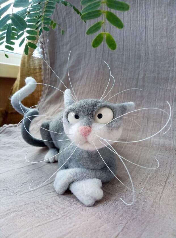 """5. """"Пристрастилась к созданию войлочных кошек. Что думаете?"""""""