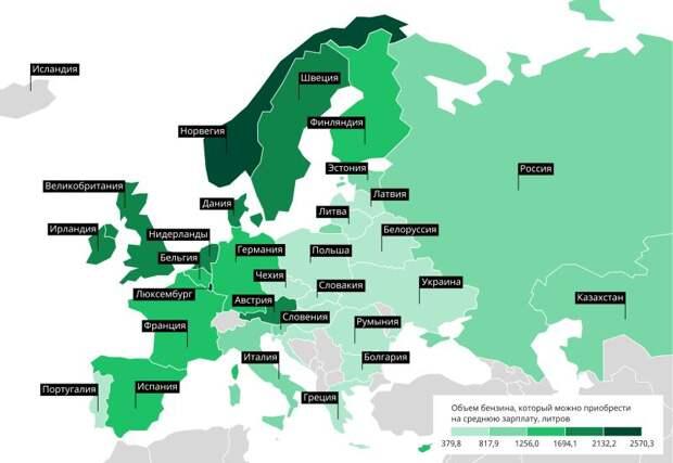 В рейтинге цен на бензин Украина оказалась на последнем месте