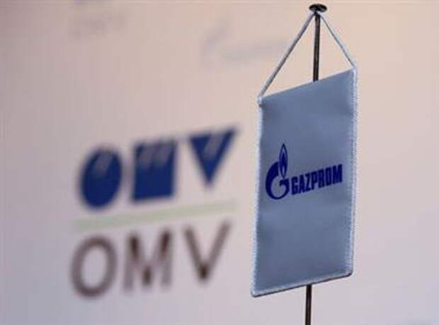 The logos of Austrian oil and gas group OMV and Gazprom are seen prior to a news conference in Vienna, Austria, December 14, 2016. REUTERS/Leonhard Foeger
