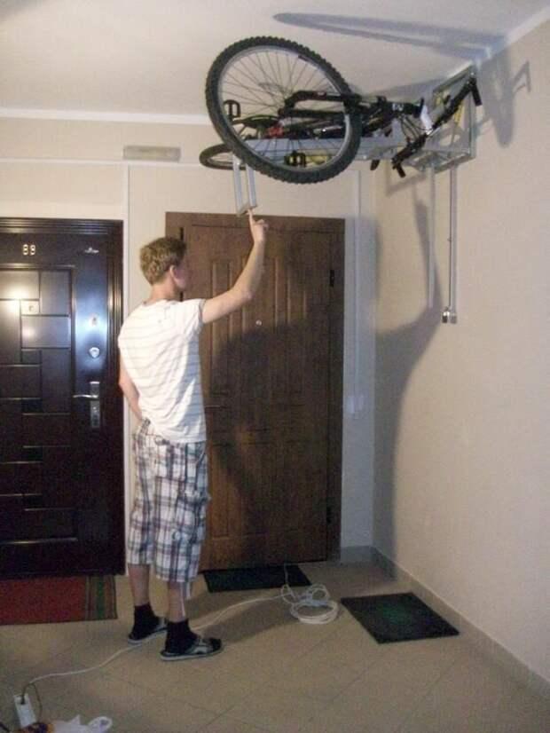 Классные идеи для хранения велосипеда Фабрика идей, велосипед, гениально, интересное, сделай сам, хранение