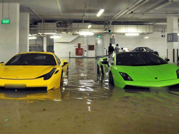 Потоп на парковке.