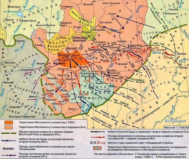 До середины XV века ордынцы  ударами пытаются сдержать Московскую   Русь...