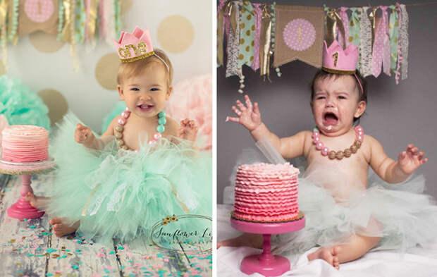Первый день рождения: ожидание и... дети, фото, юмор