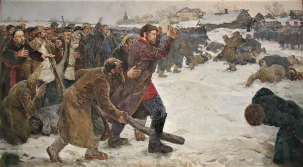 Антон Петров сдается военным, держа в руке положение о крестьянах