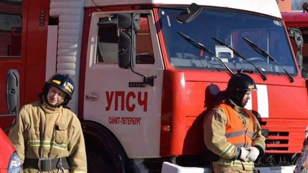 Спасатели взяли под контроль пожар около АЗС в Петербурге