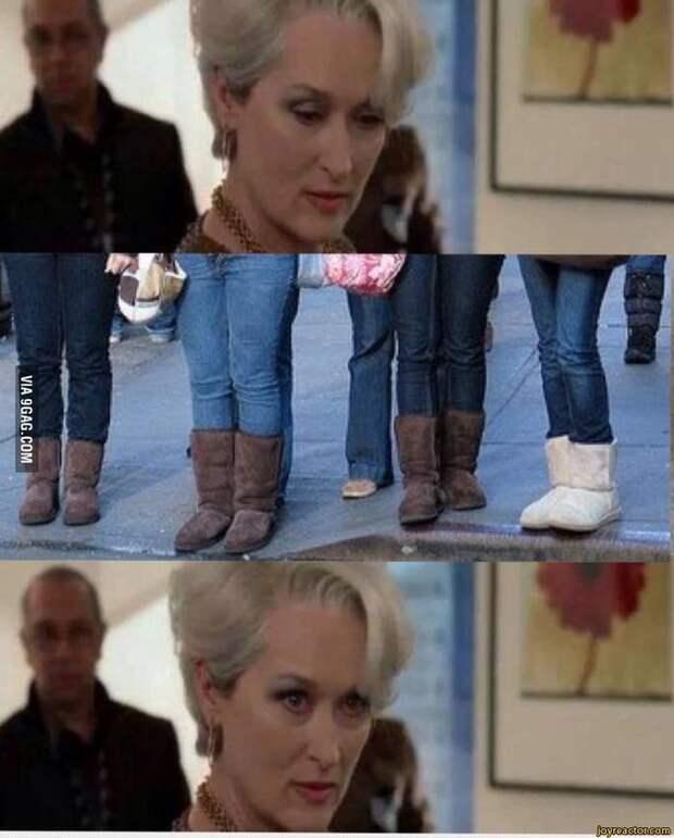 Мэрил Стрип смотрит на ноги