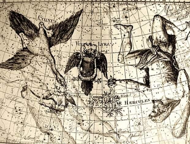 Карта с расположением созвездий Лебедя, Лиры и Геркулеса