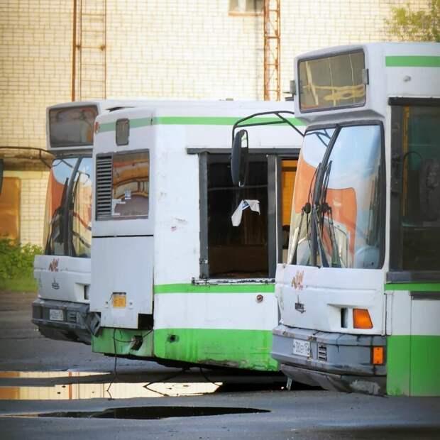 Московские МАЗы-107 в трупном ряду. Автобусы по краям встали с поломками уже здесь, а вот стоящий посередине даже в эксплуатацию не запустили Арзамас, ЛиАЗ 677, автобус, автомир, лиаз, общественный транспорт, ретро техника