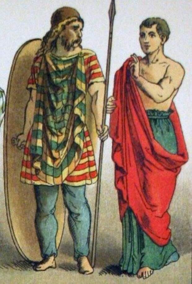 Галльский воин слева на гравюре 1882 года.