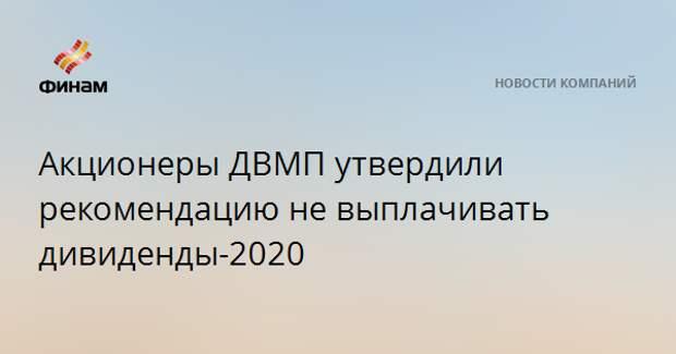 Акционеры ДВМП утвердили рекомендацию не выплачивать дивиденды-2020