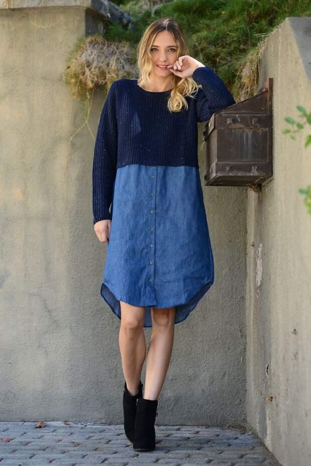 Джинсовое платье мода 2021