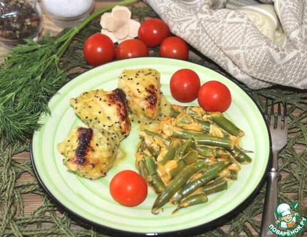 Рецепт: Курица под сливочным соусом с киви