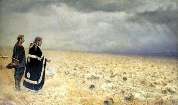 Панихида о погибших в битве воинах.