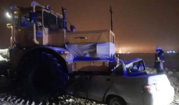 Два человека погибли вБузулукском районе после столкновения легковушки страктором