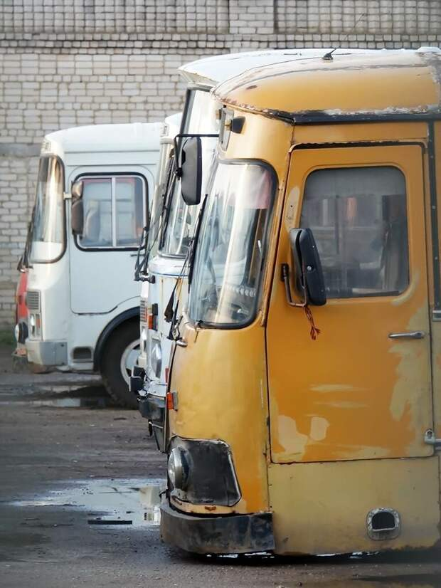 За жёлтым ЛиАЗом прячется последний в Арзамасе ЛАЗ-695Н. Он тоже ждёт хозяина из отпуска Арзамас, ЛиАЗ 677, автобус, автомир, лиаз, общественный транспорт, ретро техника
