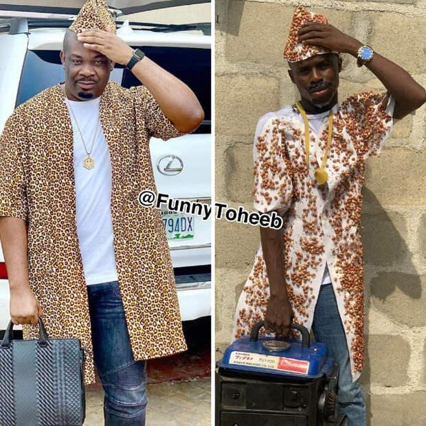 Снимите это немедленно! Парень из Африки копирует нелепые наряды звезд с помощью подручных материалов