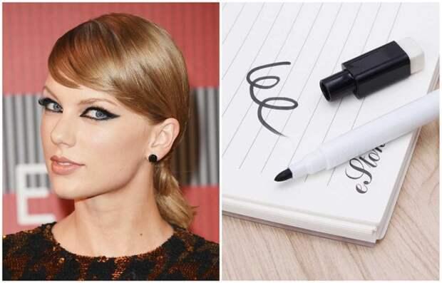 Тейлор Свифт рисует стрелки обычным маркером