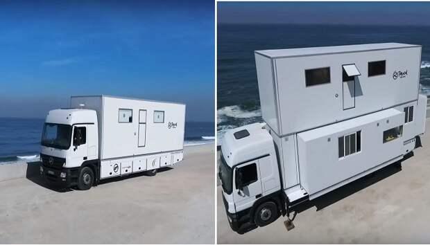Обычный с виду грузовик трансформируется в комфортабельную базу Truck Surf Hotel.