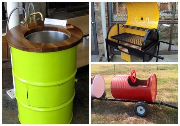 Из металлических бочек можно сделать массу полезных и нужных вещей. | Фото: pinterest.com.