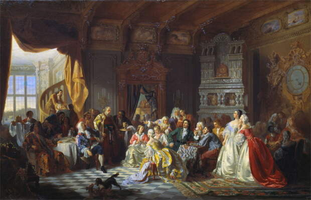 Ассамблея при Петре I. Картина Станислава Хлебовского, 1858 год