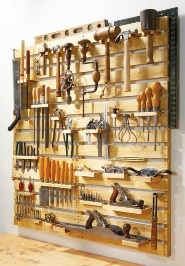 Настенный органайзер для инструментов. | Фото: Pinterest.