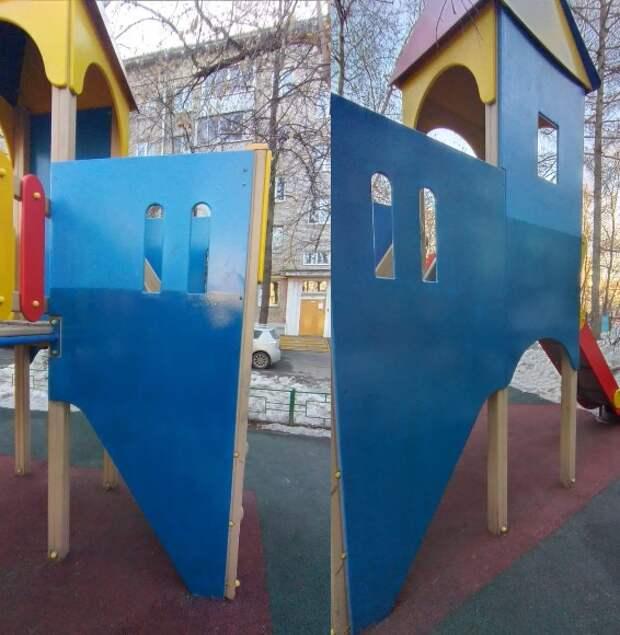 Горку детской площадки на Ленинградке избавили от вандальных надписей