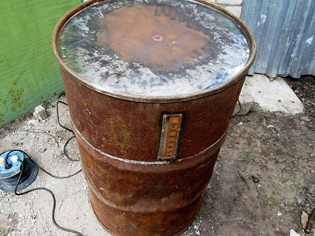 Коптилка бочка с выносным термометром