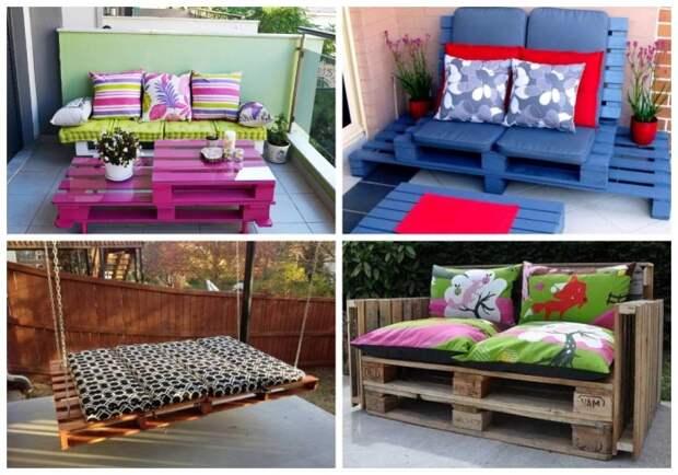 Яркие подушки станут прекрасным украшением простой мебели из строительных паллетов. | Фото: decorwind.ru.
