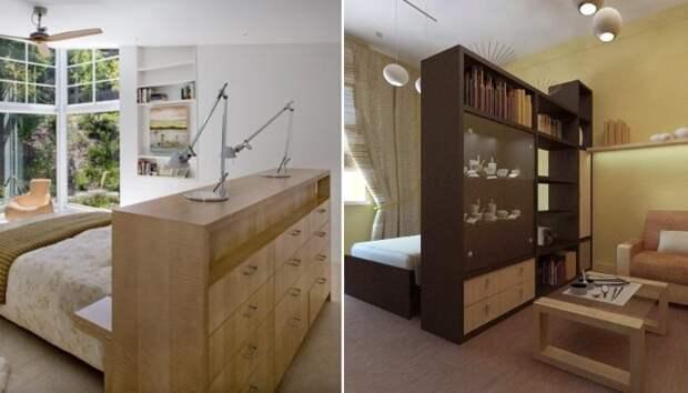 Полноценный шкаф или большая тумба поможет в зонировании комнаты и в хранении.   Фото: pinterest.com/ archidea.com.ua.