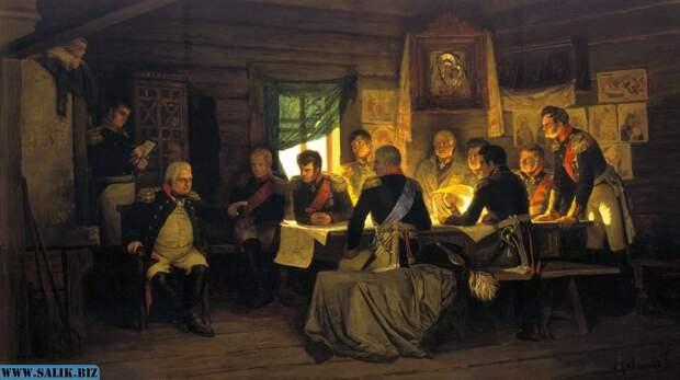 А.Кившенко «Военный совет в Филях», 1880. Ермолов изображен в правой части картины.