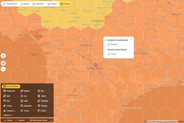Карта пыльцы для аллергиков Крыма