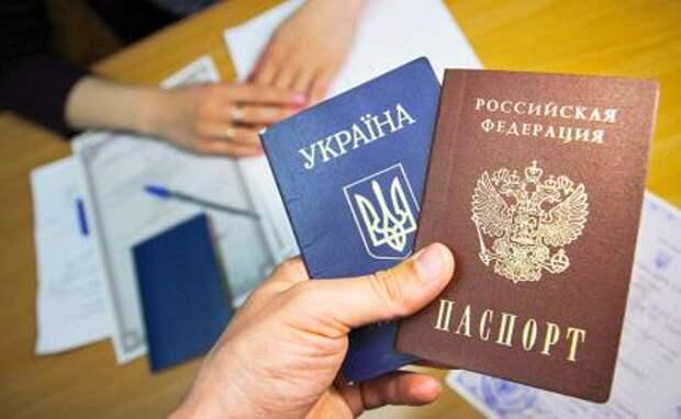 На фото: паспорта Украины и РФ