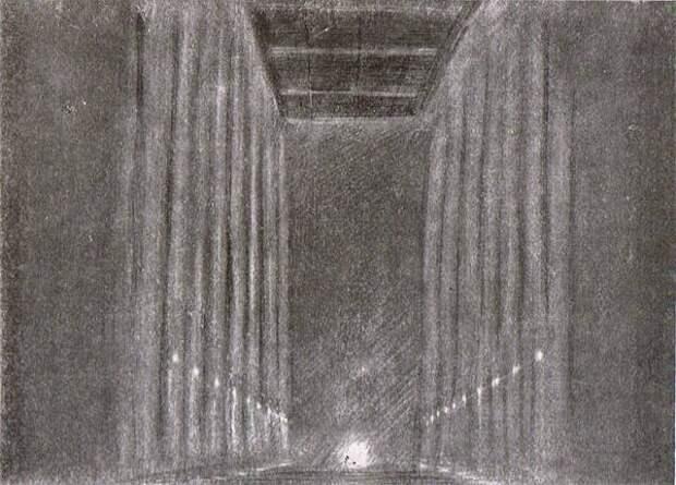 Блокадная зима 1941 г. Двадцатиколонный зал. Рисунок А.С. Никольского.