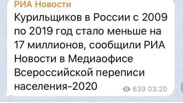 Курить в России стали меньше