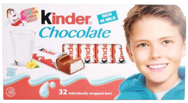 Вот как сейчас выглядит мальчик с упаковки шоколада Kinder