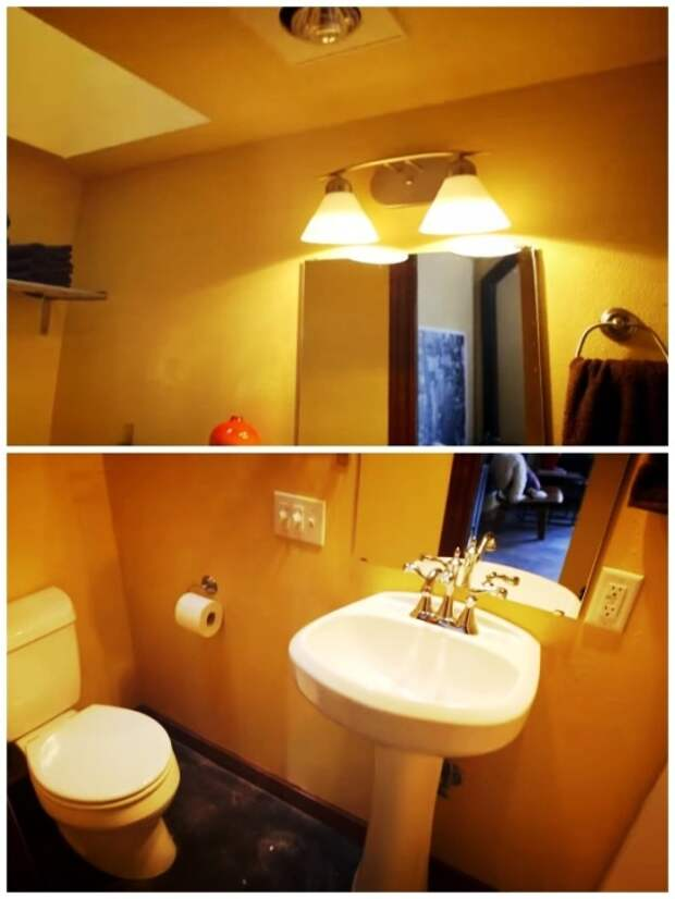 В домике для мамы удалось оборудовать ванную комнату. | Фото: youtube.com.